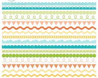 Assorted Borders Clipart Set - clip art set of borders, scallop, ric rac, pennant - personal use, small commercial use, instant download