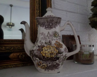 Vintage Mason's Ascot-Brown/Yellow Transferware Coffee Pot & Lid