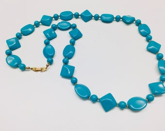 Vintage Lucite Blue Necklace, Long Necklace with Gold-tone Clasp