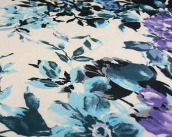 Purple Luxury Flower Border Print Georgette Fabric - 58 Inches Wide