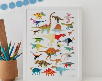 Dinosaurs Wall Art, Dinosaur decor, Dinosaur Print, Dinosaur Art, Dinosaur Gift, kids decor, nursery decor, nursery wall art, A4, A3