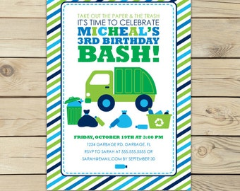 Garbage Truck Birthday Invitation Printable - Boy Birthday Party - Trash Truck Party - Dump Truck Birthday - Blue and Green