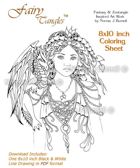 Fairy Queen of Dragons Fairy Tangles Adult Printable Coloring