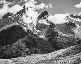 Black and white photography - Patagonia landscape photo print - Mountain art - Chile nature art print - Large poster wall art - 24x30 24x36