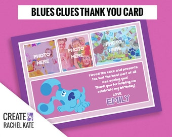 Blues Clues Birthday Party Personalized Printable Thank You Card Grid | Color - Pink