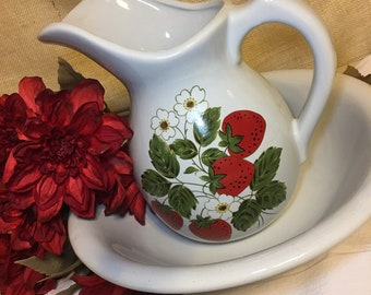 Vintage McCoy Pitcher and Basin Strawberry Country Design