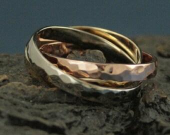 Russian Wedding Ring Men's Rolling Ring Interlocking Rings Triplet Ring Hammered Gold Bands Men's Wedding Band Men's Wedding Ring Gold Men's