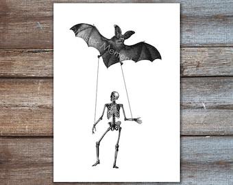 skeleton bat art print illustration - dancing skeleton art, bat decorations - horror, skeleton decor