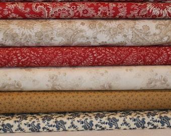 Minick and Simpson Half Yard Fabric Bundle - Moda - Miss Scarlet - Polka Dot Paisley