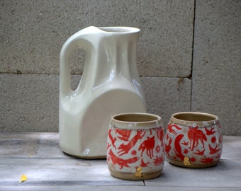 Pottery pitcher set - Ceramic pitcher - Wedding gift - Ceramic wine pitcher - Housewarming gift - Water pitcher - Pitcher with cups