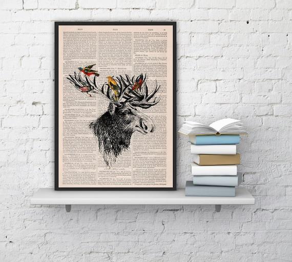 Decorative art Moose head and birds Original Illustration Giclee Digital Art Moose with birds art Wall Hanging ANI204