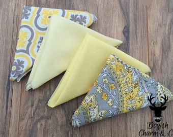 Boys Formal Wear Pocket Square, Yellow Pocket Square, Paisley Pocket Square, Men's Pocket Square, Men's Handkerchief, Boy's Pocket Square