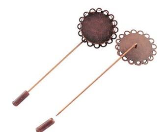 1 x medium fibula cabochon(20mm) 78x26mm copper ANTIQUE