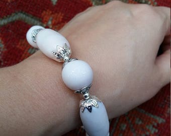 White Candy Polymer Clay Bracelet