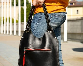 Black leather , every day tote bag LADYBUQ