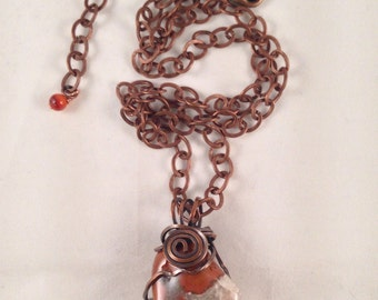 Jasper Crystal Antique Copper Pendant 1.75 Inches Long on 23.75 Inches Long Antique Copper Chain Previously 45 Dollars ON SALE