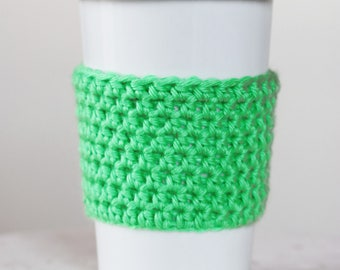 Green Coffee Cup Cozy Coffee Gift Coffee Lover Reusable Coffee Sleeve Crochet Coffee Cozies Teacher Gift Best Friend Gift for Her