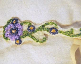 Purple Flower Beaded Headband