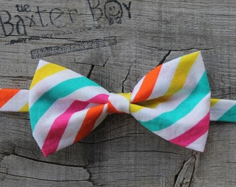 Ready-to-ship --- Size MEDIUM Candy Shop diagonal stripe little boy bow tie, pre-tied - photo prop, wedding, ring bearer