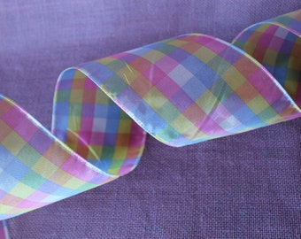 "Easter Spring wired ribbon. 4"" Easter plaid ribbon.  Spring plaid ribbon.  Spring summer ribbon.  Easter Decor"