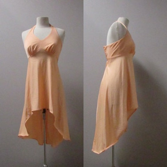 peach hi lo upcycled vintage 70s 1970s polyester formal dance repurposed pastel kawaii halter tank dress - small s
