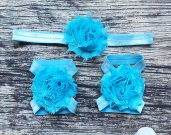 Blue Shabby Headband and Barefoot Sandals Set - Baby Girl Headband - Baby Barefoot Sandals - Headbands for Babies - Baby Girl - Baby Sandals