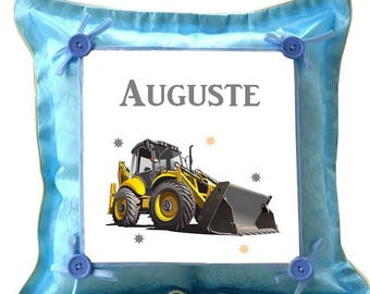 Blue backhoe custom cushion with name