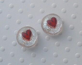 Heart Earrings - Valentine Earrings - Dichroic Fused Glass Stud Earrings - Heart Jewelry - Post Earrings - Red Heart Earrings X1864