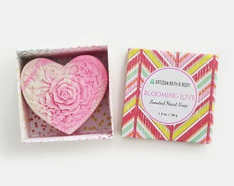 Blooming Love | Pink Heart Soap, Scented Swirl Soap Bar, Love Gift for Women, Novelty Gift for Her, Cold Process Vegan Soap, Ready to Ship