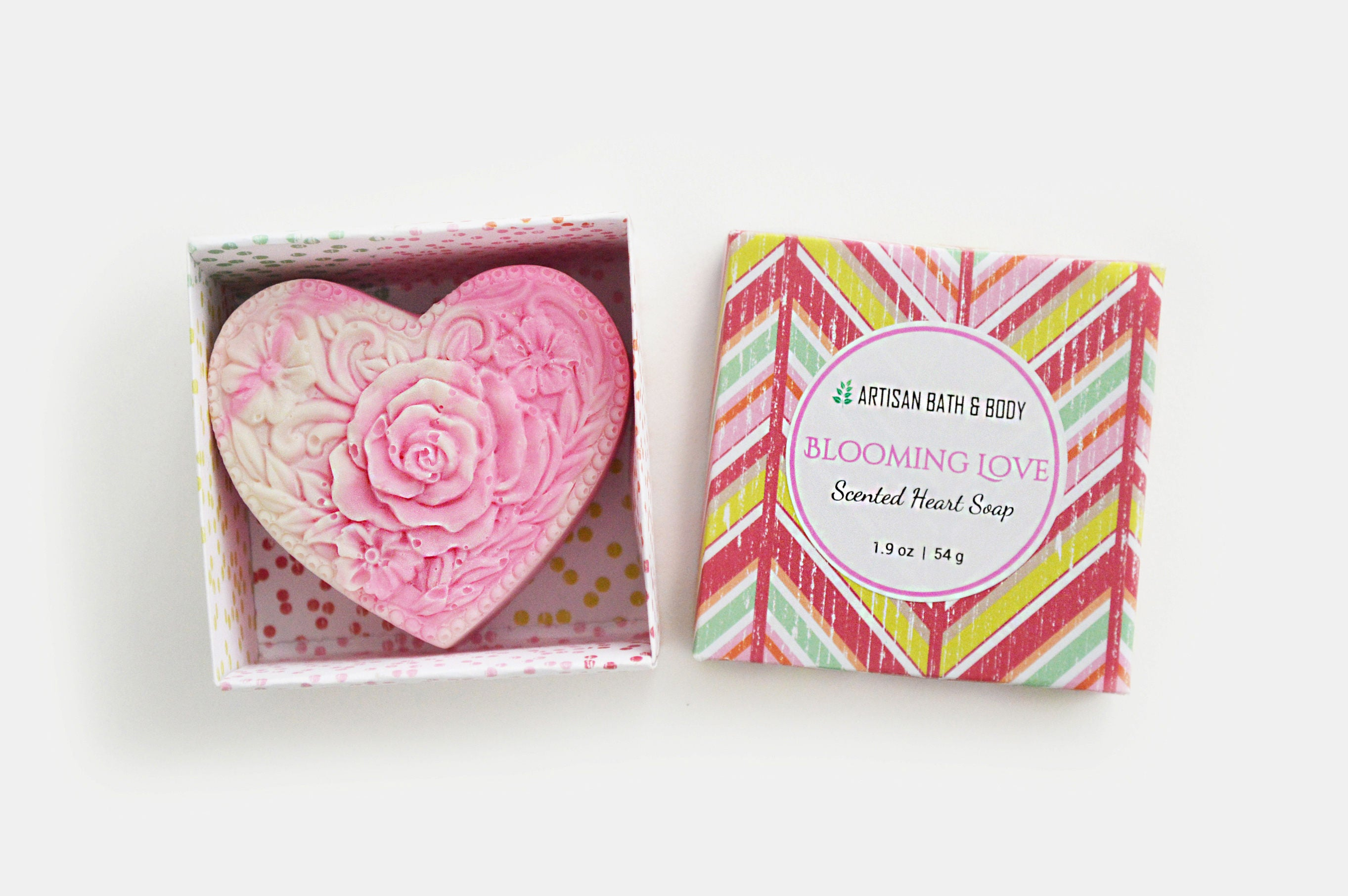 Blooming Love Pink Heart Soap Scented Swirl Soap Bar Love