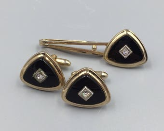 Gents Cuff Links Tie Bar Set, Fake Onyx Cufflinks, Cuff Link Set, Fathers Day Gift, Gift for Groom, Gift for Dad, Vintage Cufflinks
