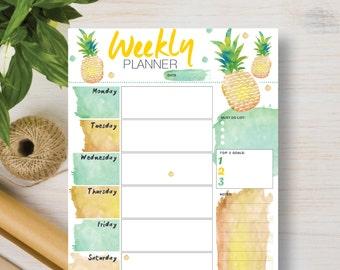 WEEKLY Pineapple Digital Instant Download. Printable Weekly Planner. Instant Planner Inserts A4, A5, Letter & Half (5.5 x 8.5)   #571