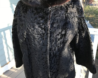 Black Persian Lamb swing jacket with Mink shawl stand collar 1960's
