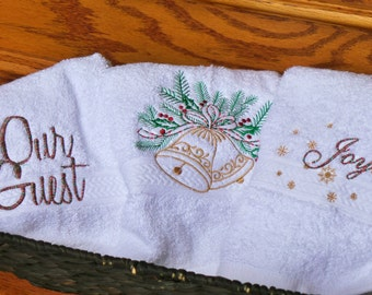 Christmas Bathroom Decor, Embroidered Towels, Guest Towels