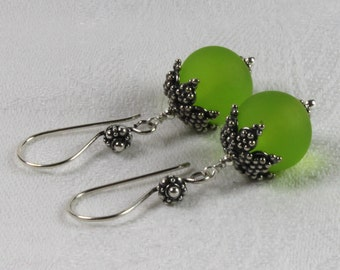 Dangle Lime Green Velvet Glass & Sterling Silver Earrings