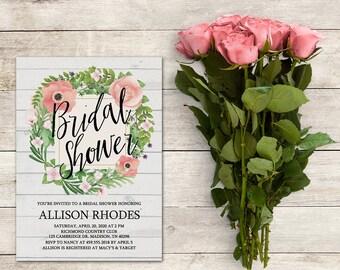 Bridal Shower Invitation, Bridal Brunch, Garden Party, Garden Theme, Engagement Party, Baby Shower, Birthday, Floral, Printable No. 1233