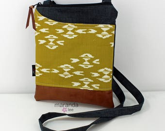 ZOE Messenger Cross Body Sling Bag -Observer Gold with Granite Denim and PU Leather READY to SHIp  Ipad bag
