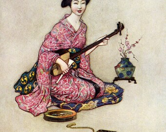 Japanese Geisha Fabric Block She Plays Samisen - Repro Warwick Goble