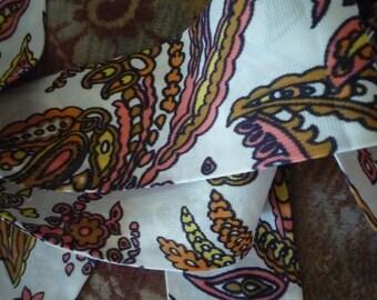 Retro bandana sash 1970s ~ goth regency terylene vintage scarf or sash