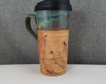 IN STOCK*Ceramic Travel mug / Commuter mug with silicone lid - Olive Blue / Leafs