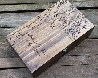 Wine box, Birch Tree wedding wine box, Double Wine Box, First Fight Box, Card box, Memory Box, wine gift box, wooden wine box, wine crate