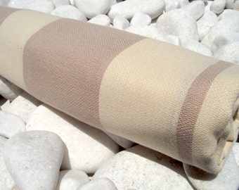 High Quality Hand Woven Turkish Cotton Bath,Beach,Pool,Spa,Yoga,Travel Towel or Sarong-Natural Cream and Beige,Soft Milky Coffee