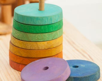 Rainbow stacking toy/ Rainbow Stacker ring/ Wooden ring stacker toy / Stacker toy for baby / Wood ring toy
