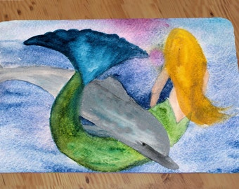 Playful Dolphin and Mermaid Comfort Foam Floor mat available in 3 sizes