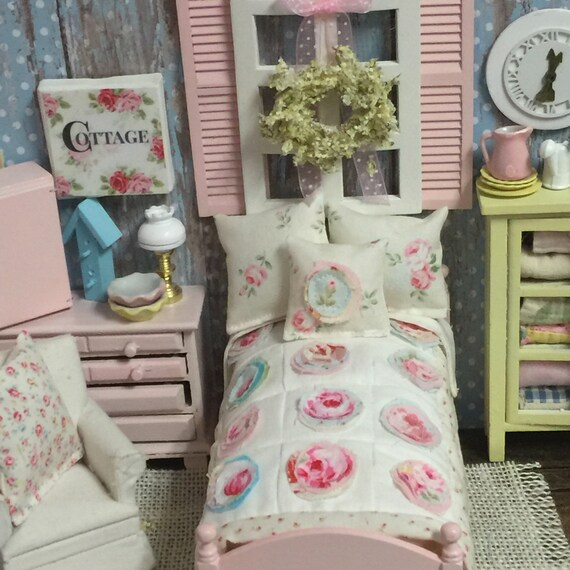 Shabby Style Applique Quilt, 2 Shams and 1 Accent Pillow -Made to order