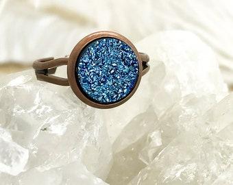 Ice Blue Druzy Ring | Faux Druzy Ring |Blue Druzy | Boho Jewelry | Ring | Boho Ring |