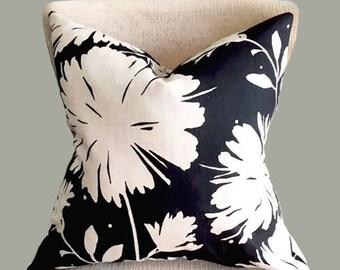 Black Floral Pillow Cover, Decorative pillow, throw pillow, 20x20 pillow cover, 18x18 pillow cover, Black, white