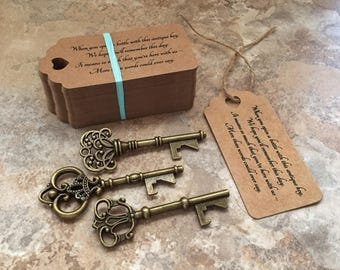 """Skeleton Key BOTTLE OPENERS + """"Poem"""" Thank-You Tags – Wedding Favors set of 100 - Ships from United States - Antique Bronze - Mixed Styles"""