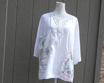 White Cotton Altered Blouse, BoHo style, shabby chic, romantic blouse,  size 46/48 ,cottage chic, mori girl style, Vintage Doily Linens