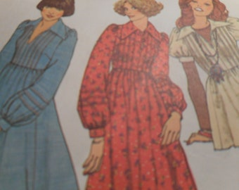 Vintage 1970's Simplicity 7191 Dress or Top Sewing Pattern Size 16 Bust 38
